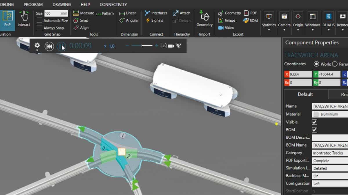montratec simuliert mit Visual Components und dem DUALIS-Konfigurator seine Intralogistik